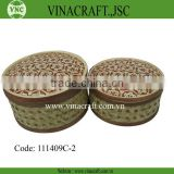 Motif bamboo basket with cover for food