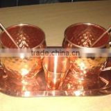 MANUFACTURER OF 100% COPPER MOSCOW MULE DRINKING MUGS SET WITH SOLID COPPER TRAY, COPPER MOSCOW MULE MUG SET
