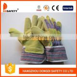 DDSAFETY Stripe Cotton Pig Split Leather Glove High Quality Pig Leather Palm Work Gloves