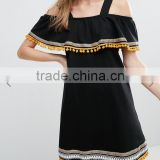 Best Quality Breathable cotton jersey Black dress Square neck Embroidery Pom Poms Cold Shoulder Sun dress