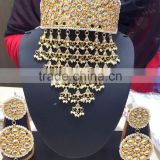 Choker bridal KUNDAN GOLD PLATED necklace DANGLER EARRING set