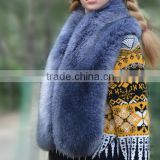 trendy design warm winter women blue fox fur shawls