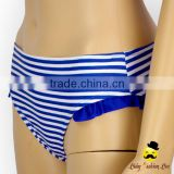 New Printed Blue Striped Nylon Separable Type Teen Girl Bikini Waterproof Swimwear Under Panties