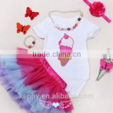 Baby Girl's clothing Outfit Boutique cloth wholesale kids hot pink tutu skirt/dress clothing set