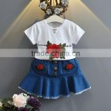 Baby Girls Clothes Set Clothing Embroidery Rose Bamboo Shirt And Denim Skirt Outfit M7041801