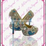 Aidocrystal classic royalblue crystal jeweled sandals,golden rhinestone genuine leather party high heels