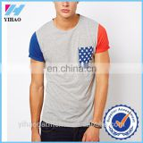 Yihao men's 100%cotton t shirts bulk wholesale summer new fashion Custom Cut and Sew T Shirts Pocket mens t-shirt with pocket