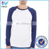 Mens Custom made Plain Blank Navy/white Raglan Sleeve 100% Cotton T shirt ,longsleeve t shirts wholesale at Cheaper Price