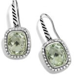 Sterling Silver Jewelry Noblesse Drop Earrings with Prasiolite(E-051)