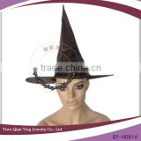 black velvet witch hat chicken party hat with balls                                                                         Quality Choice