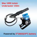 1000 Lumens Wide Degree Underwater 200m Scuba Diving Equipment Diving Powerful Led Flashlight with 5 Gears