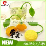 Factory supply lemon design 100% FDA silicone tea bag for christmas gifts
