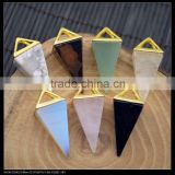LFD-0043P ~ Gold Plated Rose Quartz , Amethyst Agate Pyramid Reiki Charm Beads Gem stone Crystal Pendants Jewelry Finding
