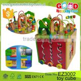 Four Sides Educational Wooden Cube Box Game Kindergarden Activity Play Cube Center Baby Toys                                                                         Quality Choice