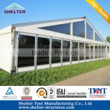 Zhejiang good quality glass door wall Flame redartant permanent warehouse tents can used over 15years never rust