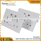 Britain Type G usb wall mounted plate outlet with AC 230V 13A DC 3.6Ampe 4.8Ampe with CE RoHS BS1363 standard