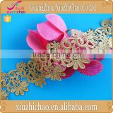 HG0333 Wholesale High Quality Water Soluble Gold Metallic lace Trim for Garment Accessories