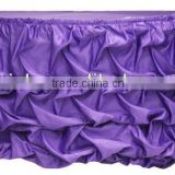 Charming satin wedding ruffled table skirts, gathered table skirts