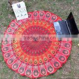 Indian Red Hippie Mandala Throw Wall Hanging Boho Hippie Mandala Tapestry Home Decor Table Cover Decorative Art Cotton Towel