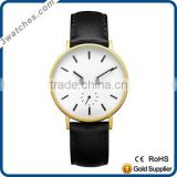 Fashion luxury classic charm black&gold women watch stainless steel Japan movement watch genuine leather small second dial watch