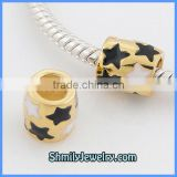Wholesale Sterling Silver Gold Tube Enamel Star Charms BES40B