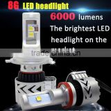 The brightest led headlight 8th generation with CR 6000LM 40W ,Double heat dissipation system h4 h7 h8 car led headlight
