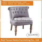 Wood children chair with upholstery,Patchwork back&seat with buttons,Gourd shape legs,TB-7433