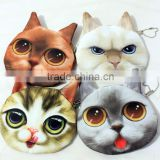 Dropshipping cute cat print coin purse fashion Korean design mini wallets handy zipper money bags