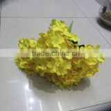 guangzhou flower wholesale 7 heads yellow artificial silk hydrangea flowers for wedding centerpieces