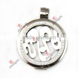 Silver Color Crystal pave Coin locket Stainless steel High quality Factory price
