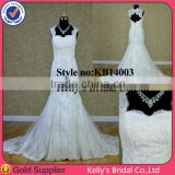 Romantic short sleeves mermaid long train wedding dress wedding gown with lace
