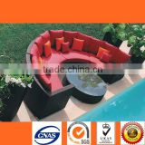 SF9032 Hotsale Fashion Rattan Black with Red Cushion Sofa Half Round at New Year