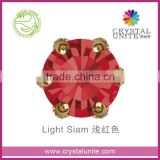 U1038CS Light Siam Machine Cut Chaton in Crown Setting,lead free rhinestone