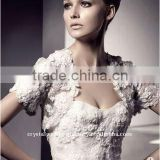2012 lace short sleeve beaded wedding jacket/bolero CWFaJ3735