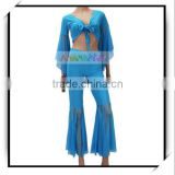 Belly Dance Yoga Gauze Costume Top Pants Set Blue pink