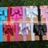 "Soft Stetch Elastic Headbands with 2.75""Embroideried Sequin Bows for Hair Accessories IN STOCK"