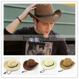 >>>>Men Summer Outdoor Beach Fishing Sun Cap Straw Collapsible Wide Brim Cowboy Hat