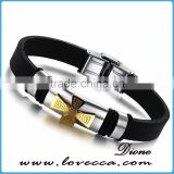 Charm Rubber Silicone Chain Gold Cross wristband bracelet for mens with stainless steel buckle