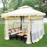 3*3 meter outdoor garden wrought Iron gazebo with water proof canopy,curtain and sofa set inside, DR-1106