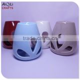 red glazed small ceramic oil lamp burner