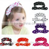 Wholesale 2016 New children rabbit ear baby girl polka dot hair bow headband