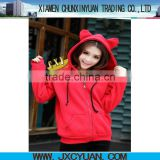 high quality blank hoodie with ears for women and girls RED
