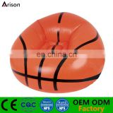 PVC inflatable round basketball printed arm sofa arm chair for adults and kids