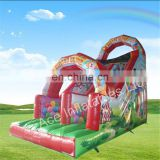 Double lane circus theme inflatable slip and slide for adult , baby inflatable slip n slide
