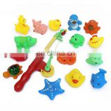 Magnetic Fishing Play Set Make Sound Duck Frog Bath Toys 15 PCS