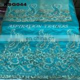 African / Indian george fabric beaded embroidery wholesale polish lace fabric