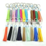 2017 Mix color silver plating large size bulk leather tassel keychain