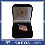 wholesale american flag lapel pin badge with velvet gift box