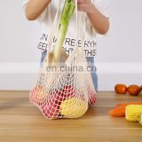 wholesale eco friendly cotton mesh produce bag reusable Fruit vegetable Tote Mesh Net Woven Cotton Shopping Bag