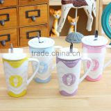 A cup of ice cream waves With cover with a scoop of ceramic cup Creative glass Milk cup mug